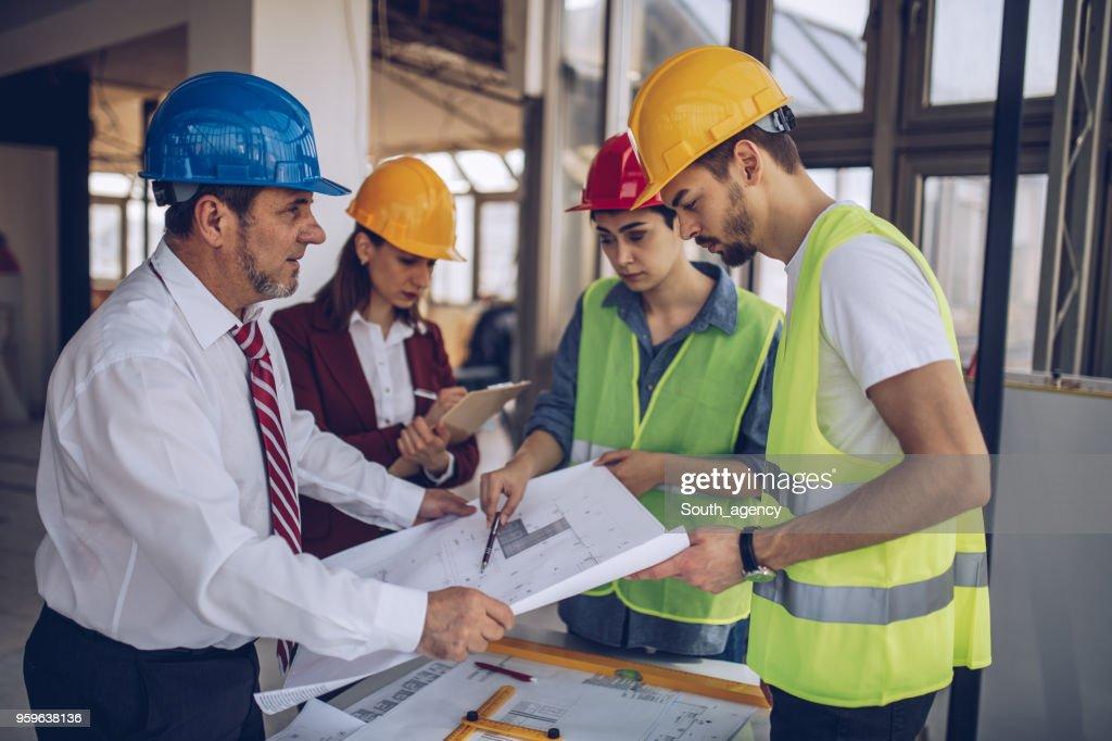 Bau Arbeiter auf der Baustelle : Stock-Foto