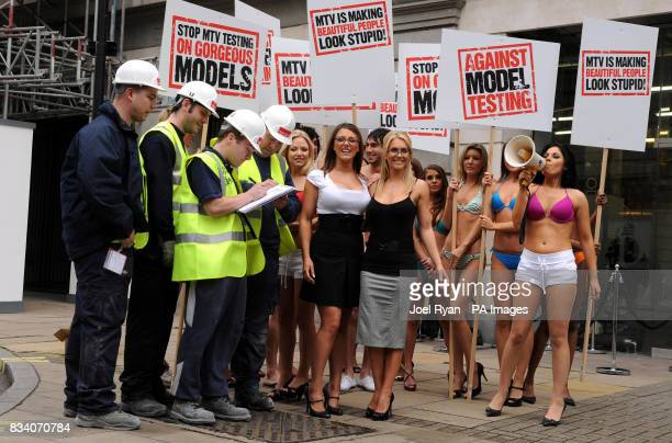 Construction workers sign a petition led by Glamour model Lucy Pinder and FHM High Street Honey winner Kayleigh Pearson to promote the launch of MTV...
