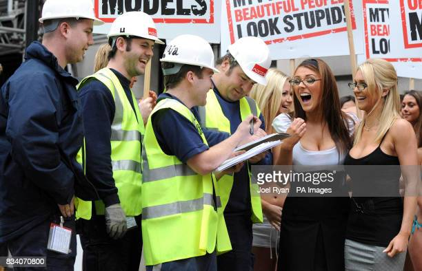 Construction workers sign a petition led by Glamour model Lucy Pinder and FHM High Street Honey winner Kayleigh Pearson as they promote the launch of...