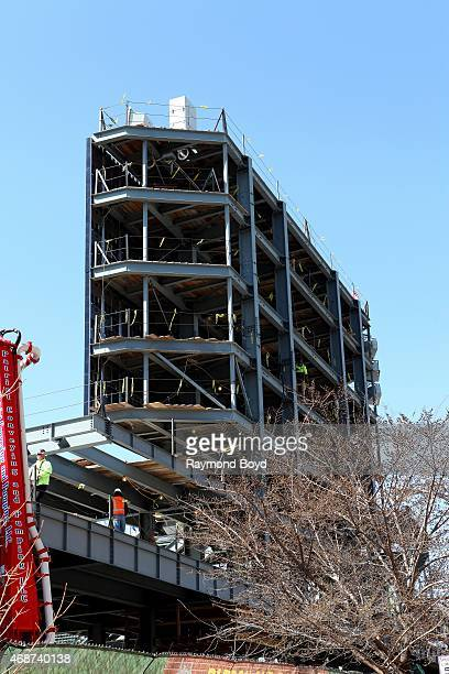 Construction workers works on the huge 6000 square foot Jumbotron video screen that caused most of the controversy with Wrigleyville rooftop owners...