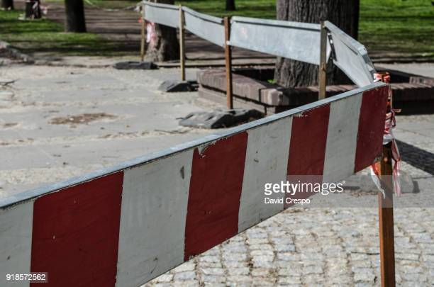 construction works (fence) - detour sign stock photos and pictures