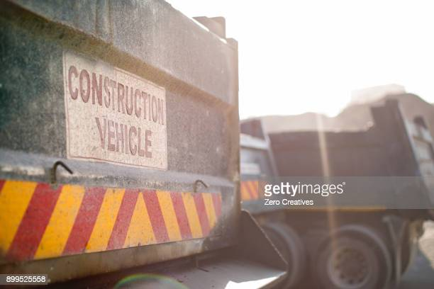 Constructions vehicles in quarry, close-up