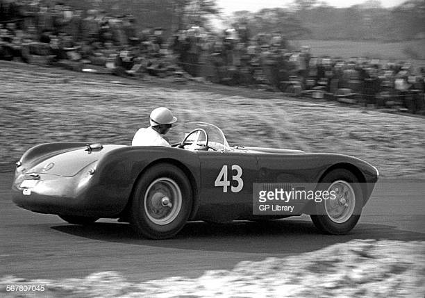 Constructor and team chief George Abecassis in his HWMJaguar HWM 1 Oulton Park England 1954
