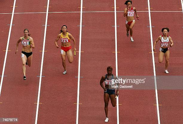 Consuella Moore of the USA leads the field in during the Womens 4 x 100 Metres Relay during the 2007 IAAF Osaka Grand Prix at Nagai Stadium May 5,...