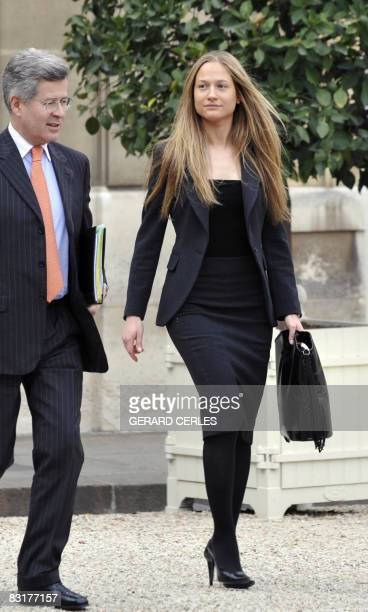Consuelo Remmert, trainee at the diplomatic unit of the Elysee Palace and half-sister of first Lady Carla Bruni Sarkozy, arrives with Jean-David...