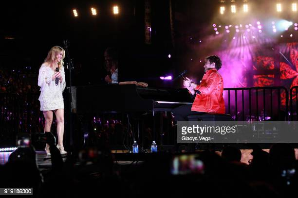 Consuelo Schuster and Tommy Torres perform as part of his concert Tu y Yo' at Coliseo Jose M Agrelot on February 16 2018 in San Juan Puerto Rico