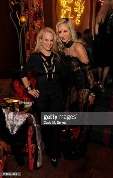 Consuelo Vanderbilt Costin and Lady Victoria Hervey attend the launch of Lady Victoria Hervey and Scott Henshall's new brand 'Hervey Henshall' during...