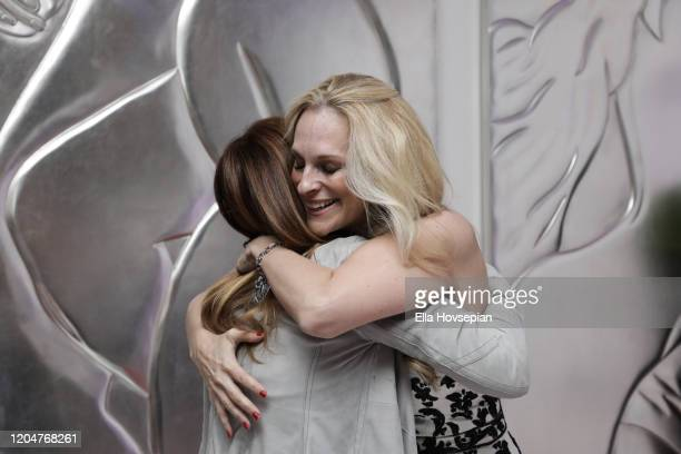 Consuelo Vanderbilt Costin greets a guest at the LA Launch Event Of SohoMuse at Christopher Guy West Hollywood Showroom on February 07 2020 in West...