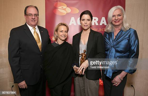 Consul General of Canada in Los Angeles James Villeneuve Executive Vice President SAGAFTRA Gabrielle Carteris Honoree Neve Campbell and ACTRA...