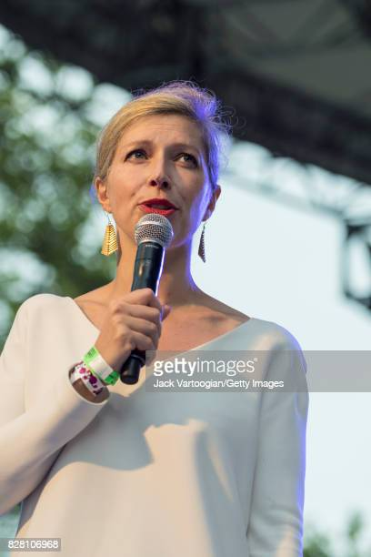 Consul General of France in New York AnneClaire Legendre speaks onstage during a concert at Central Park SummerStage New York New York July 1 2017...