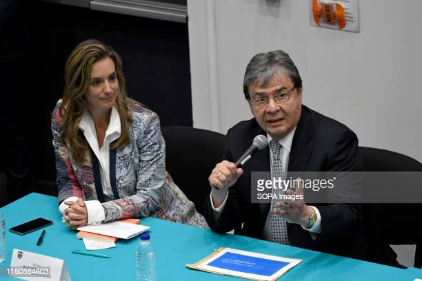 Consul María Ximena Duran Sanín and Colombians foreign minister Carlos Holmes Trujillo seen during a meeting with the Colombian community at...