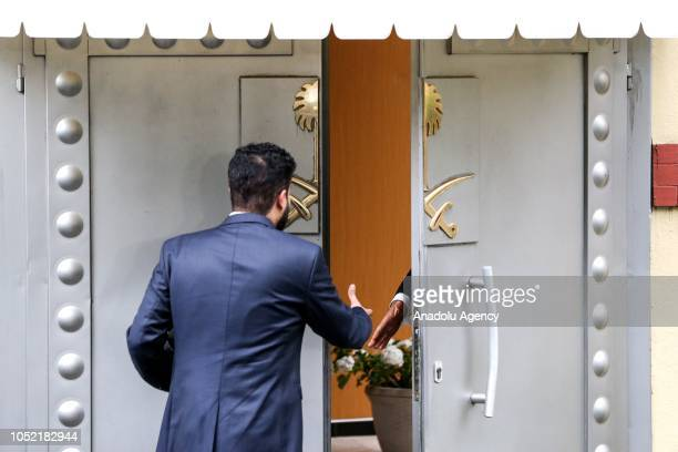 A consulate officer enters Saudi consulate as the waiting continues on the disappearance of Prominent Saudi journalist Jamal Khashoggi in the...