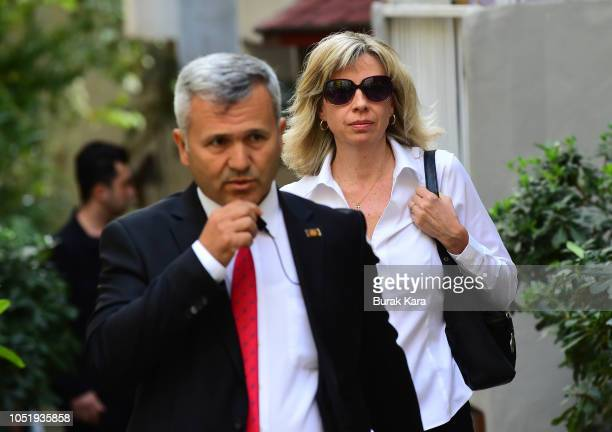 S consulate officials escorts Norine Brunson wife of American pastor Andrew Brunson departs for her husband's court hearing on October 12 2018 in...