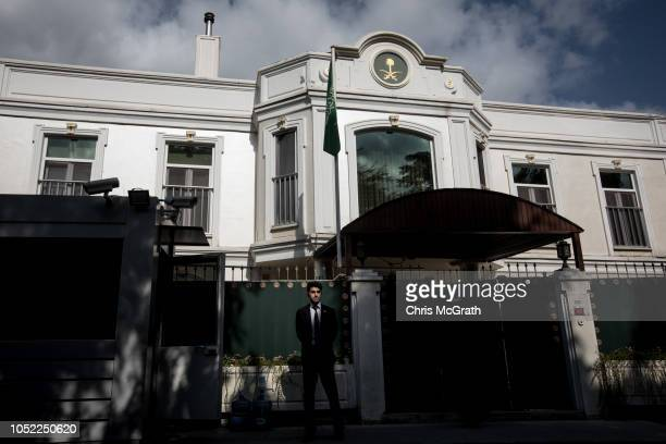 A consulate security guard stands in front of the entrance of Saudi Arabia's ConsulGeneral's residence amid a growing international backlash to the...