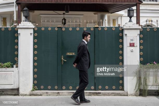 A consulate security guard walks in front of the entrance of Saudi Arabia's ConsulGeneral's residence amid a growing international backlash to the...