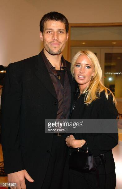 Consultant Anthony Robbins and wife Sage attend a surprise 70th birthday party for television talk show host Larry King held on November 19, 2003 at...