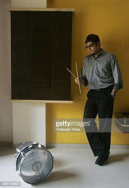 Consultant at Deloitte Jay Mody with his drumset at Borivali