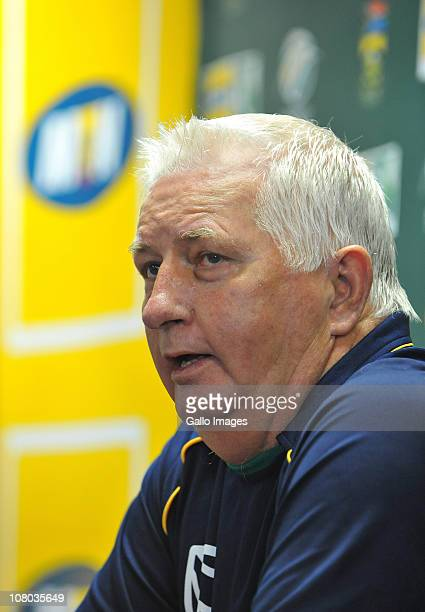 Consultant coach Duncan Fletcher speaks during the South Africa national cricket team nets session at Bidvest Wanderers Stadium on January 14, 2011...