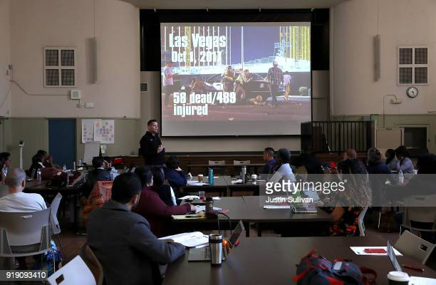 Consultant Jeff Solomon of DPrep leads an active shooter training for Oakland Unified School District teachers staff and administrators at Cole...
