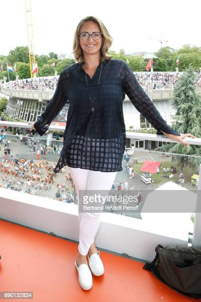 Consultant of France Television Mary Pierce attends the 2017 French Tennis Open Day Three at Roland Garros on May 30 2017 in Paris France