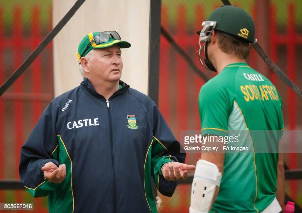 Consultant to South Africa team Duncan Fletcher talks with AB deVilliers during a net session at Centurion Park Centurion South Africa