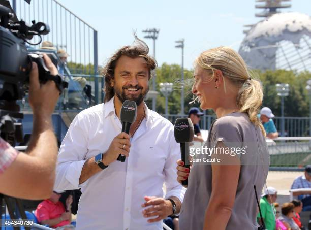 Consultants for Eurosport Henri Leconte and Barbara Schett comment on Day 4 of the 2014 US Open at USTA Billie Jean King National Tennis Center on...
