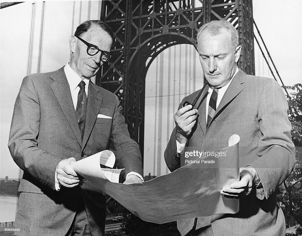 Ammann kyle reviewing plans for george washington bridge pictures consulting engineer othmar ammann l and port authority chief engineer john m kyle malvernweather Gallery
