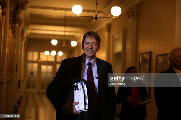 Consumer Financial Protection Bureau Director Richard Cordray arrives at a meeting of the Financial Stability Oversight Council November 16 2016 at...