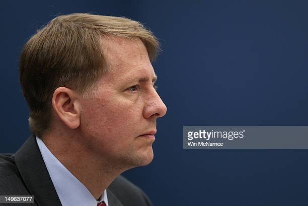 Consumer Financial Protection Bureau Director Richard Cordray testifies before the House Small Business Committee August 1 2012 in Washington DC The...