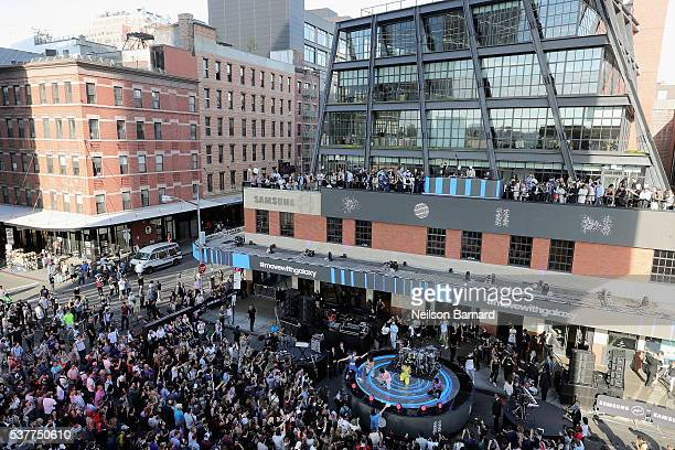 Consumers attend Samsung's celebration of A Galaxy of Possibility and unveiling of Gear Fit2 and Gear IconX at Samsung 837 on June 2 2016 in New York...