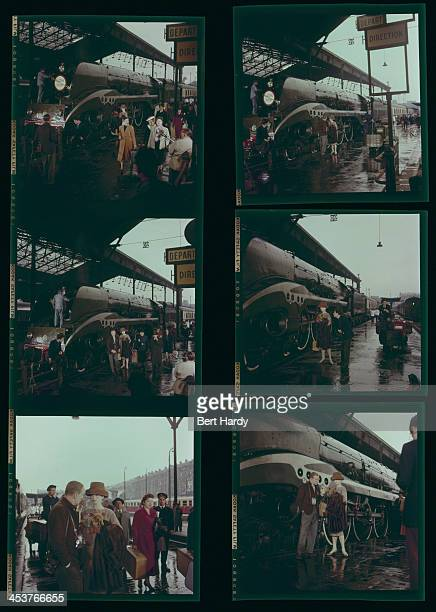 A contact sheet depicting actors Fred Astaire and Audrey Hepburn filming a scene from Stanley Donen's 'Funny Face' at the Gare du Nord railway...