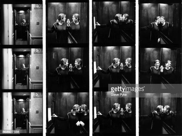 A contact sheet depicting American actress and novelist Carrie Fisher in an elevator 18th April 1994