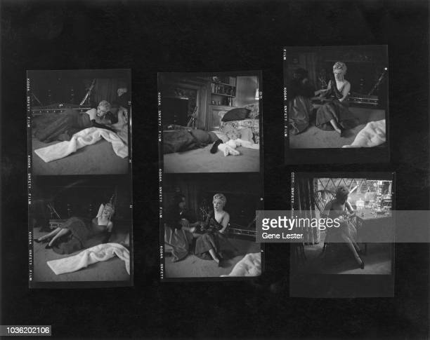 A contact sheet depicting American actress Marilyn Monroe during a photo shoot 1955