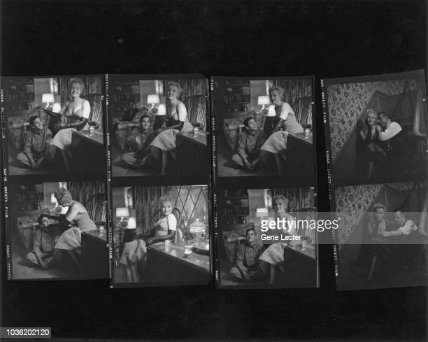 A contact sheet depicting American actress Marilyn Monroe with photographer Milton Greene during a photo shoot 1955