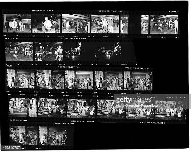 A contact sheet depicting American motorcycle stunt rider Evel Knievel arriving in London and giving a press conference prior to his attempt to jump...