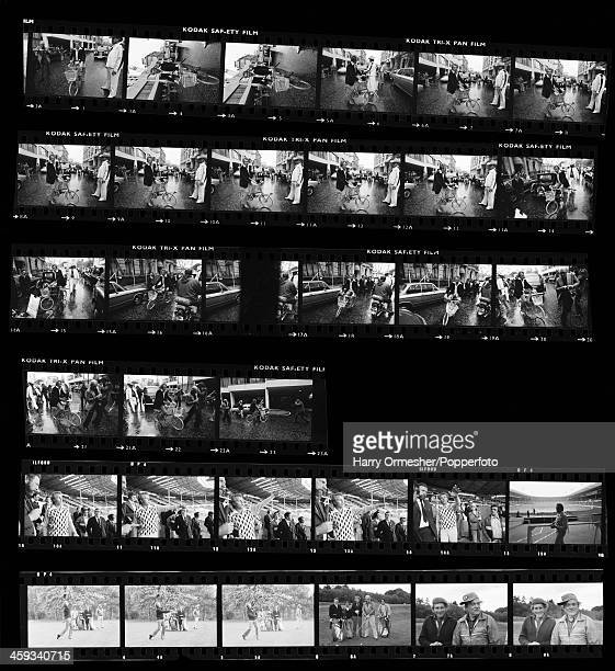 A contact sheet depicting American motorcycle stunt rider Evel Knievel riding a bicycle in a London street and visiting Wembley Stadium in...