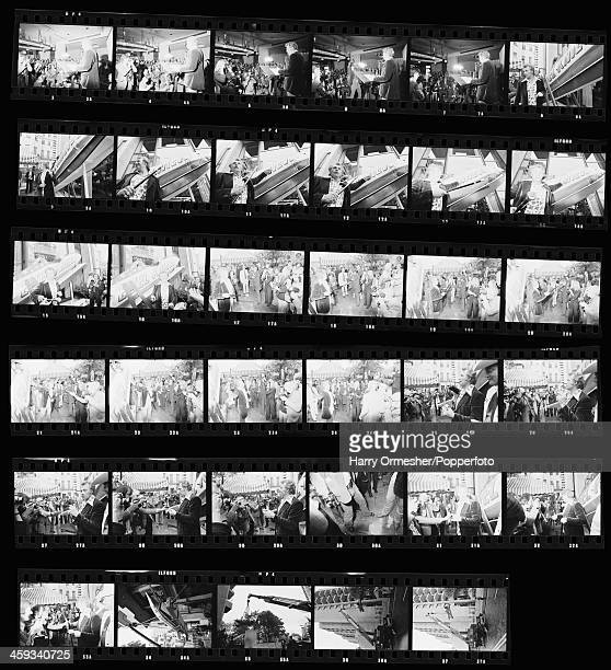 A contact sheet depicting American motorcycle stunt rider Evel Knievel giving a press conference for his upcoming attempt to jump thirteen buses at...