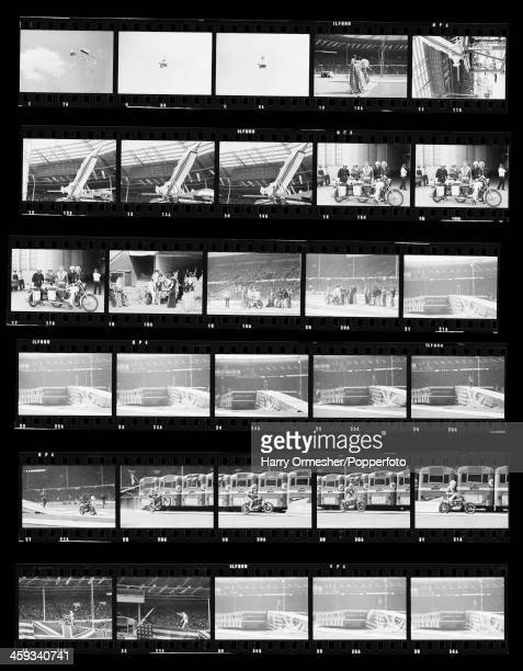 A contact sheet depicting American motorcycle stunt rider Evel Knievel preparing for his attempt to jump 13 AEC Merlin buses at Wembley Stadium...