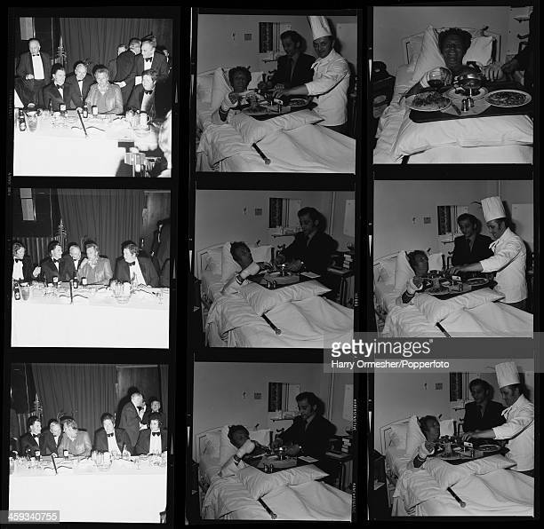 A contact sheet depicting American motorcycle stunt rider Evel Knievel at a dinner before his attempt to jump 13 buses at Wembley Stadium and having...