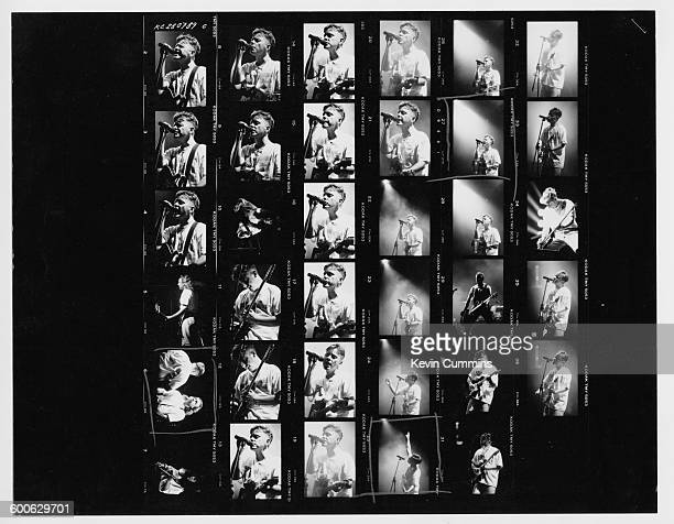 A contact sheet depicting Bernard Sumner and Peter Hook performing with English rock group New Order at Meadowlands New Jersey USA 19th July 1989