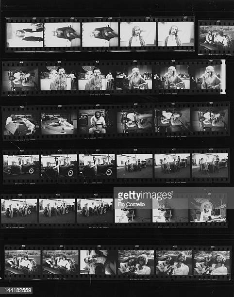 A contact sheet depicting BritishAmerican pop group Fleetwood Mac offstage and in the studio New Haven Connecticut October 1975