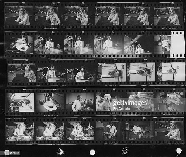 A contact sheet depicting BritishAmerican pop group Fleetwood Mac in a studio New Haven Connecticut October 1975