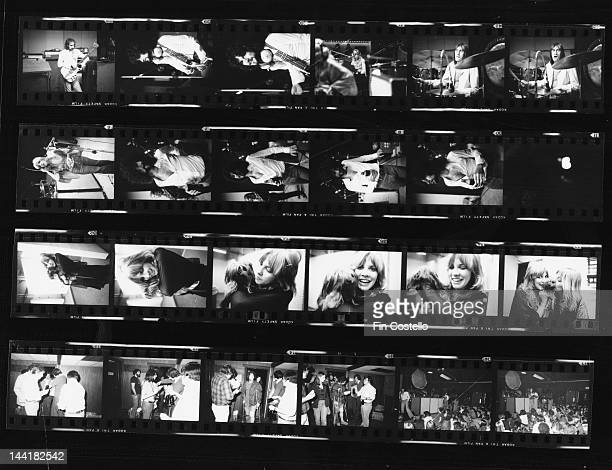 A contact sheet depicting BritishAmerican pop group Fleetwood Mac in the studio and on stage New Haven Connecticut October 1975