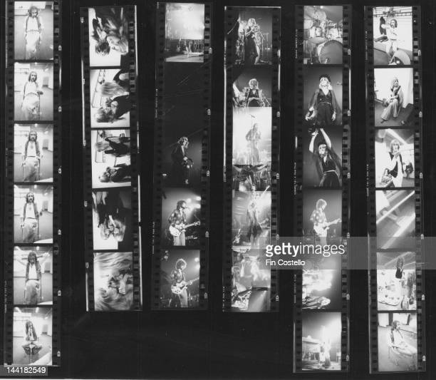Contact sheet depicting British-American pop group Fleetwood Mac on and off stage in New Haven, Connecticut, October 1975.