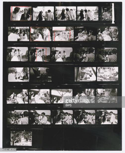 Contact sheet depicting Elizabeth Taylor and Montgomery Clift on the set of Edward Dmytryk's 'Raintree County', during location filming near...