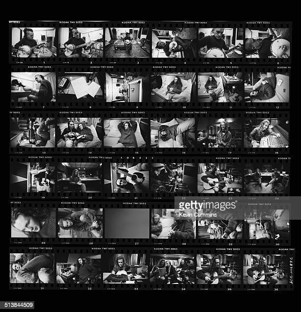 Contact sheet depicting English pop group The Wonder Stuff at Rockfield Studios, near Monmouth in Wales, December 1989. The group are recording demos...