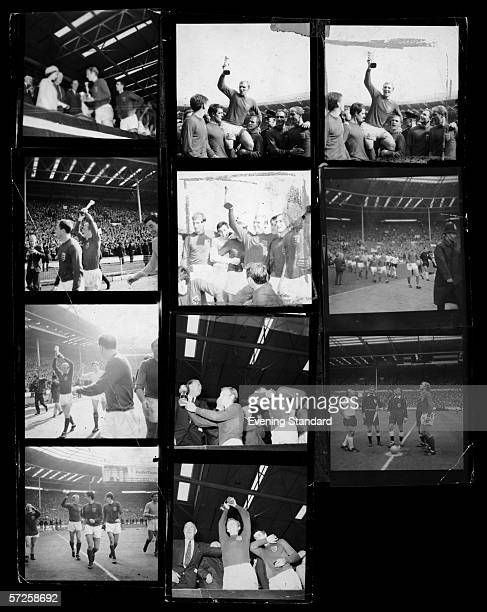 A contact sheet depicting events from the 1966 World Cup final at Wembley Stadium 30th July 1966 Images include the teams arriving the toss up the...