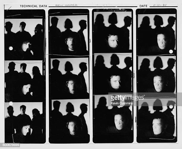 A contact sheet depicting Gillian Gilbert Peter Hook and Bernard Sumner of English rock group New Order 1st November 1985 Other group members are...