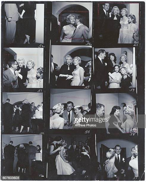 A contact sheet depicting the wedding reception for Hollywood gossip columnist Sheilah Graham and her third husband Stanley Wojtkiewicz at Graham's...
