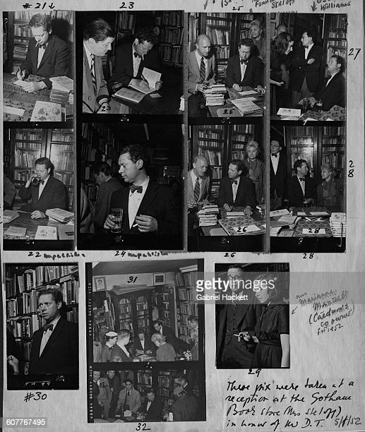 A contact sheet depicting Welsh poet and writer Dylan Thomas at a reception held in his honour at the Gotham Book Mart in Manhattan New York City 1st...